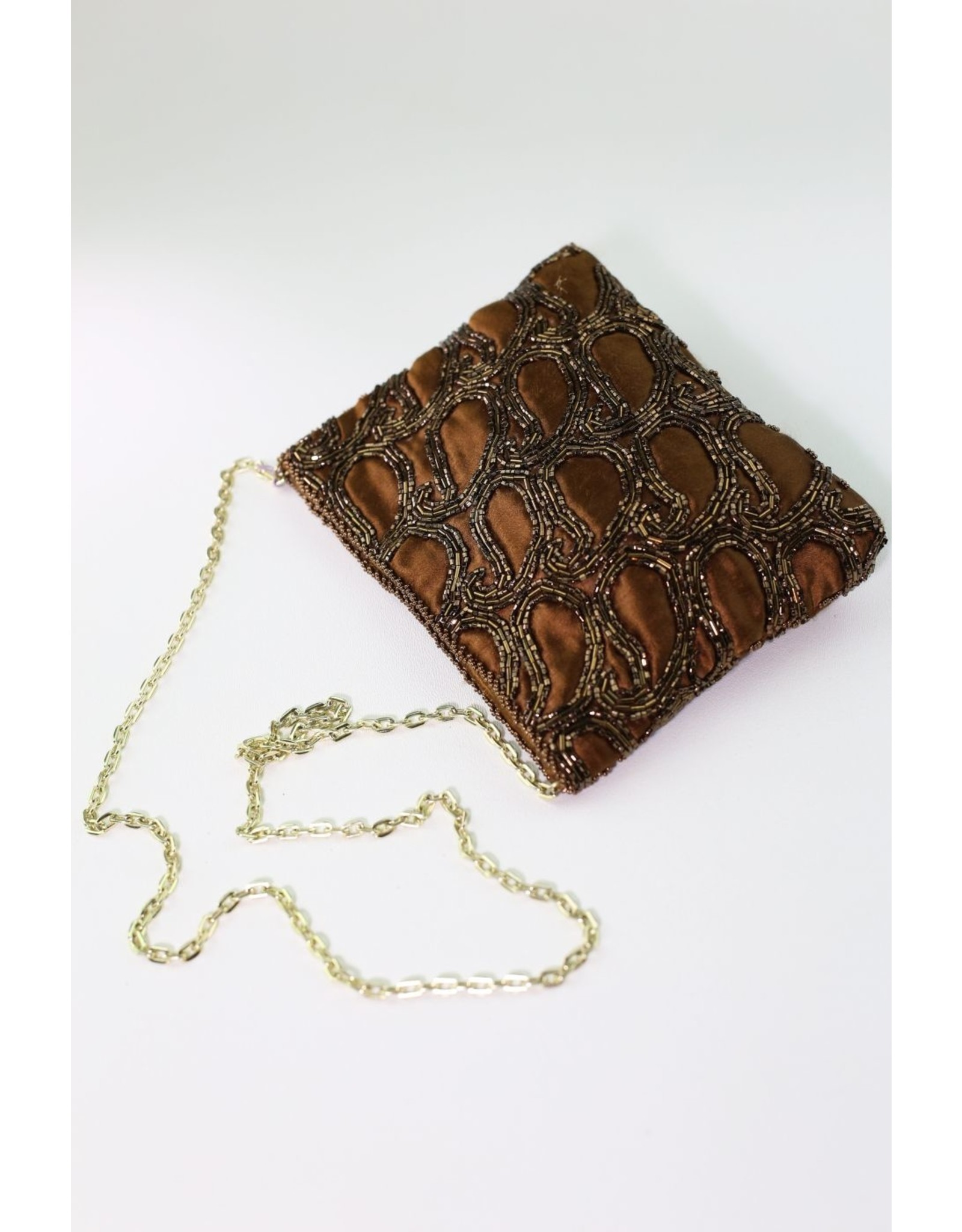 1970's Brown Beaded Evening Bag