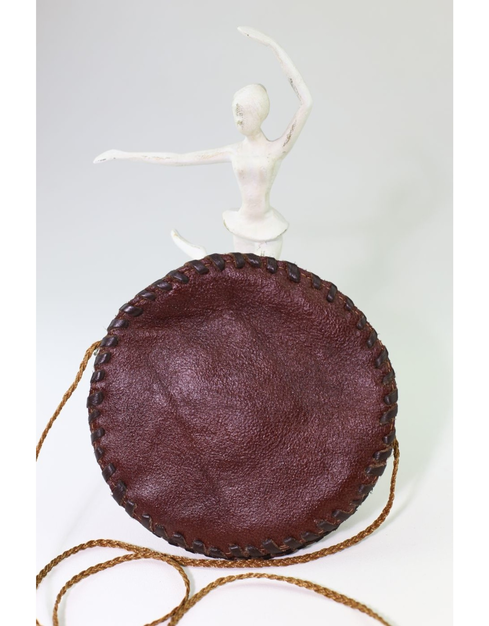 1970's Round Boho Leather Purse