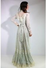 1970's Ivory & Blue Gunne Sax Dress