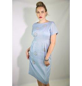 1950's Blue Day Dress w/ Crochet Rounds