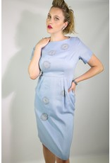 1950's Blue Day Dress w/ Crochet Rounds