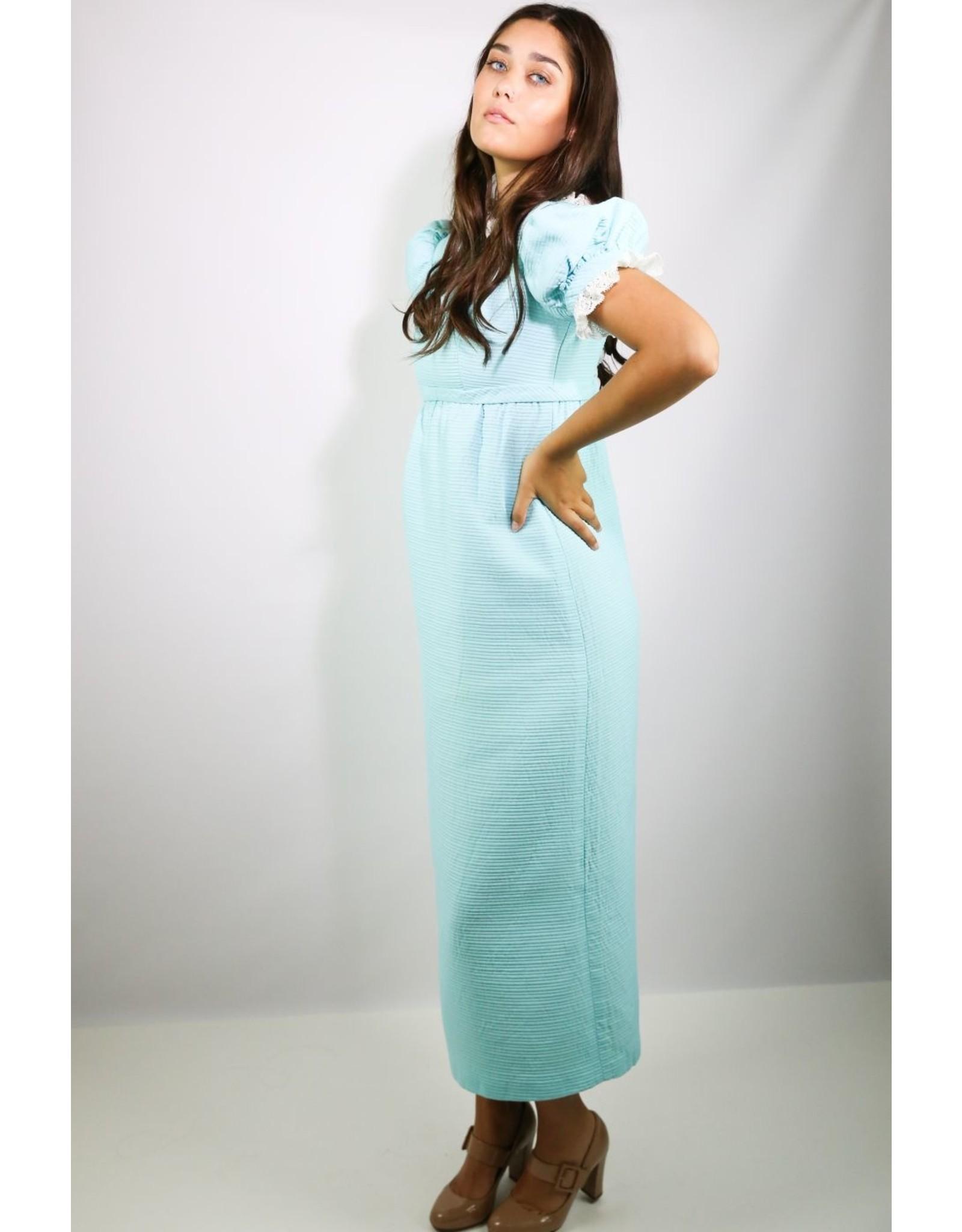 1960's Blue Baby Doll Maxi Dress