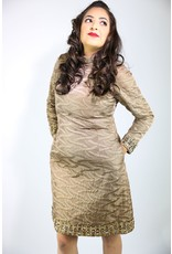 1960's Plus Size Brown & Gold Formal Dress