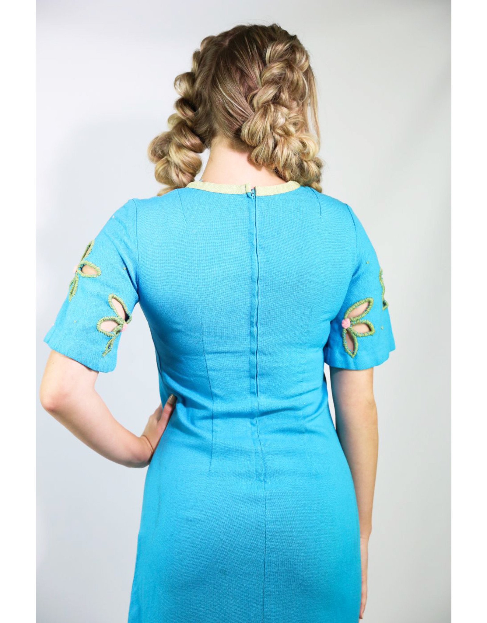 1960's Blue Day Dress with Flower Cutouts