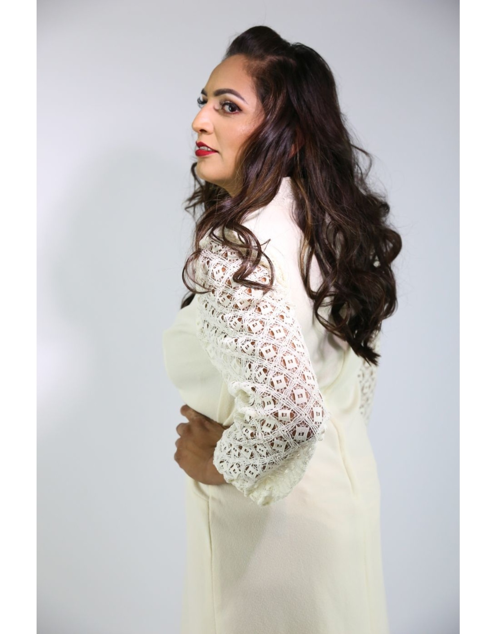 1960's Plus Size Ivory Midi Dress with Crochet Sleeves