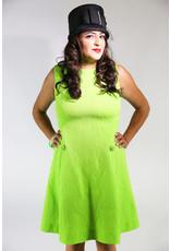 1960's Plus Size Lime Green Shift Dress