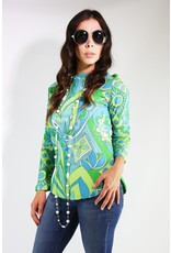 1960's Green & Blue Patterned Long Sleeve Top