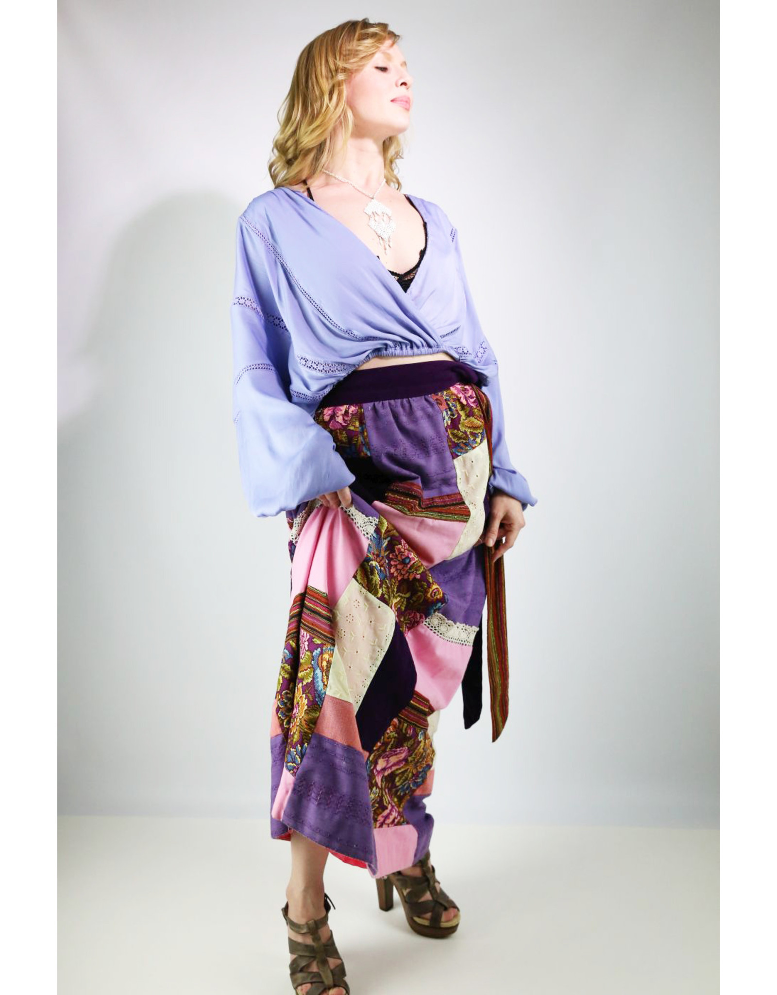 1960's Purple Patchwork Maxi Skirt