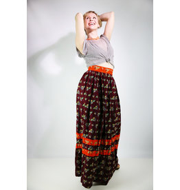 1960's Eggplant and Orange Floral Maxi Skirt
