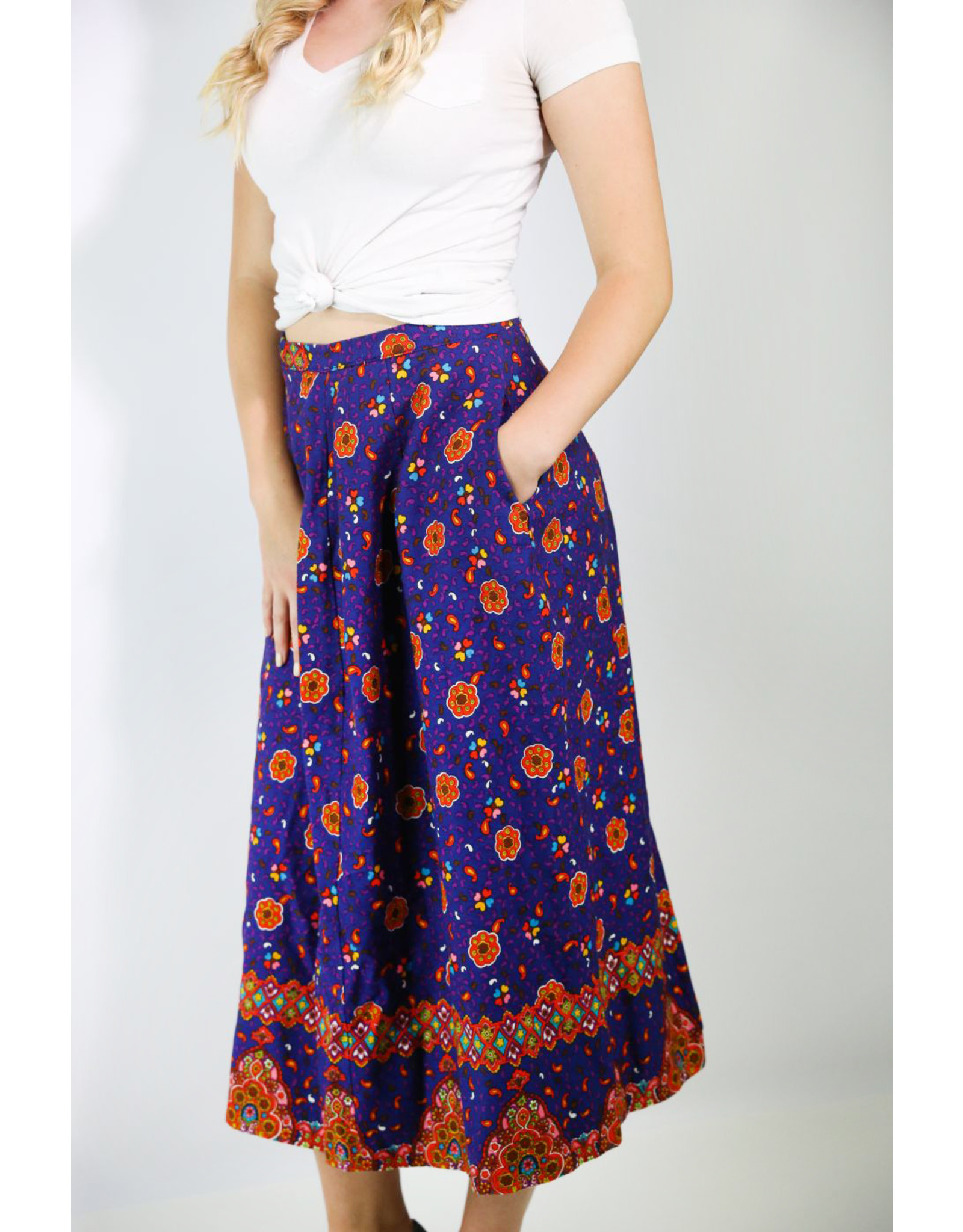 1960's Purple & Orange Mandala Midi Skirt
