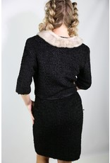 1960's Black Crinkle Textured Set w/ Fur Collar