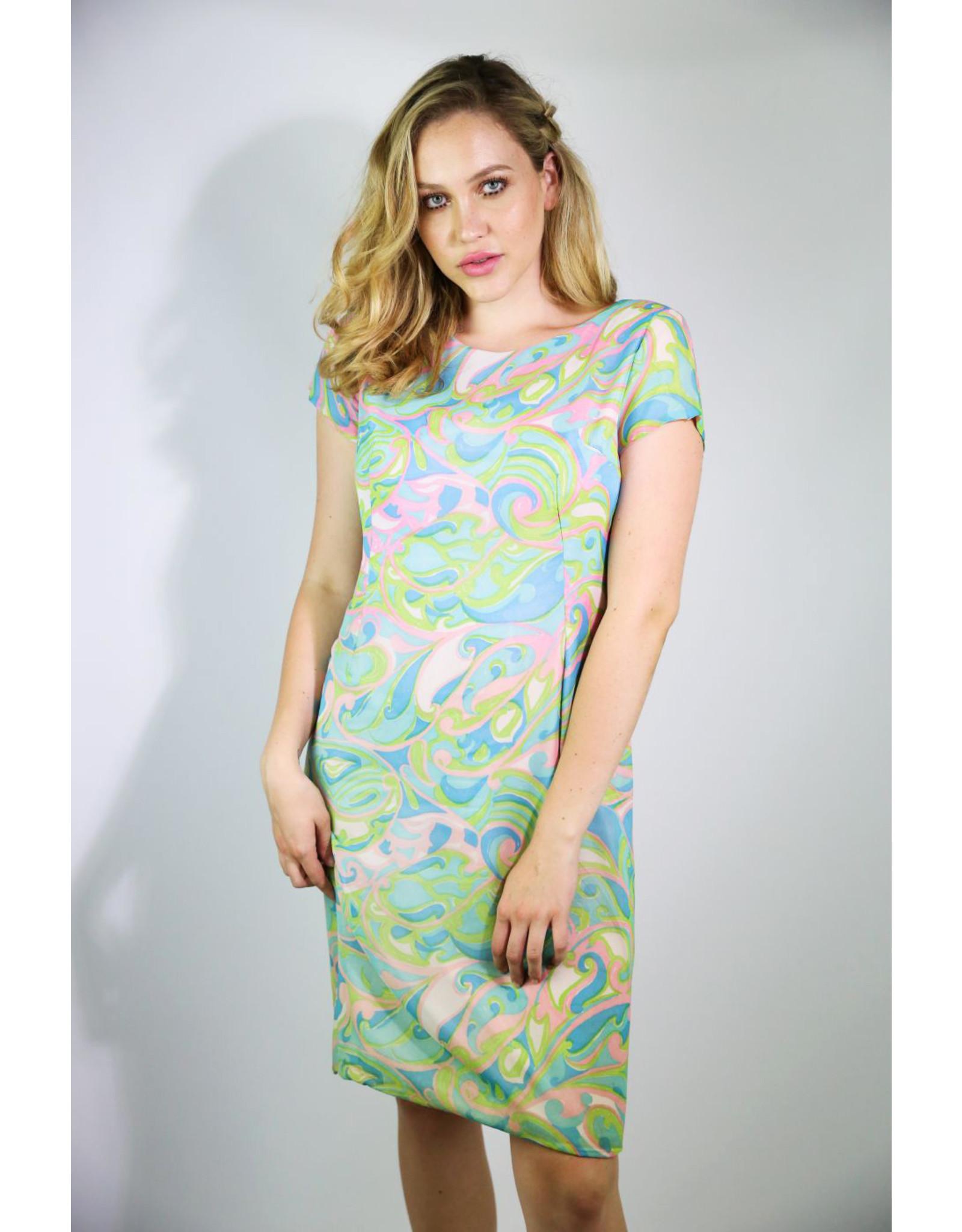 1960's Pink & Blue Swirl Midi Dress