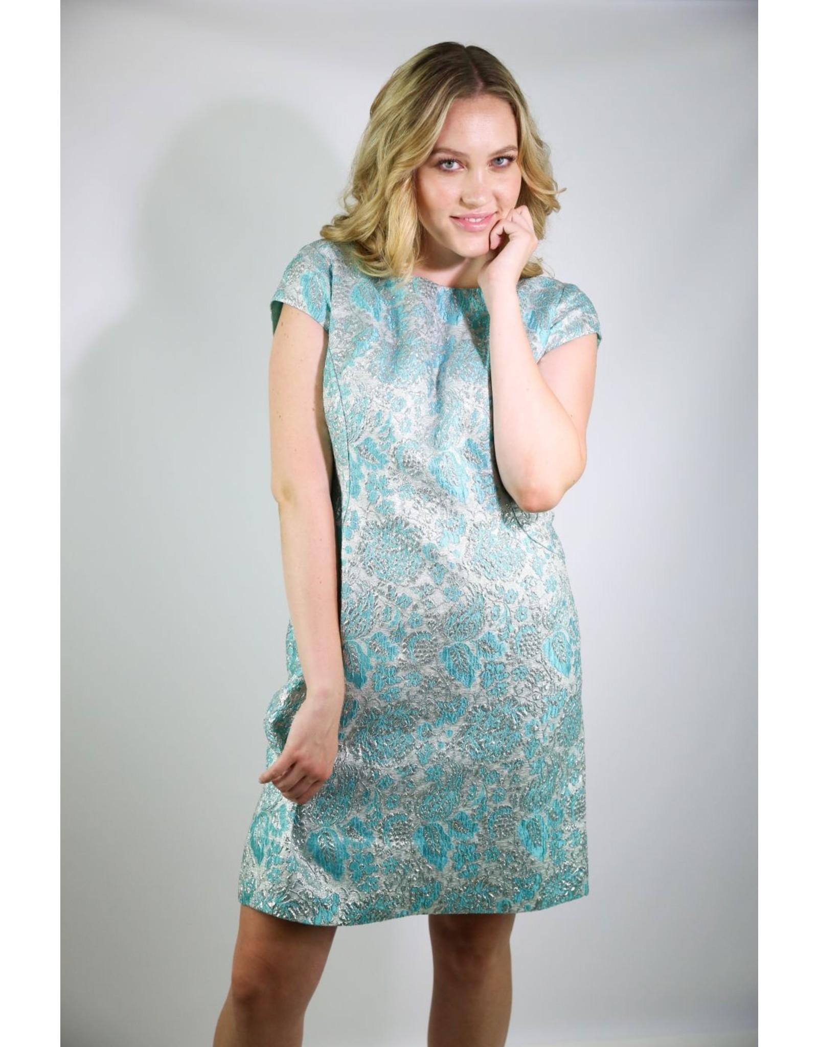 1960's Plus Size Silver & Blue Party Dress