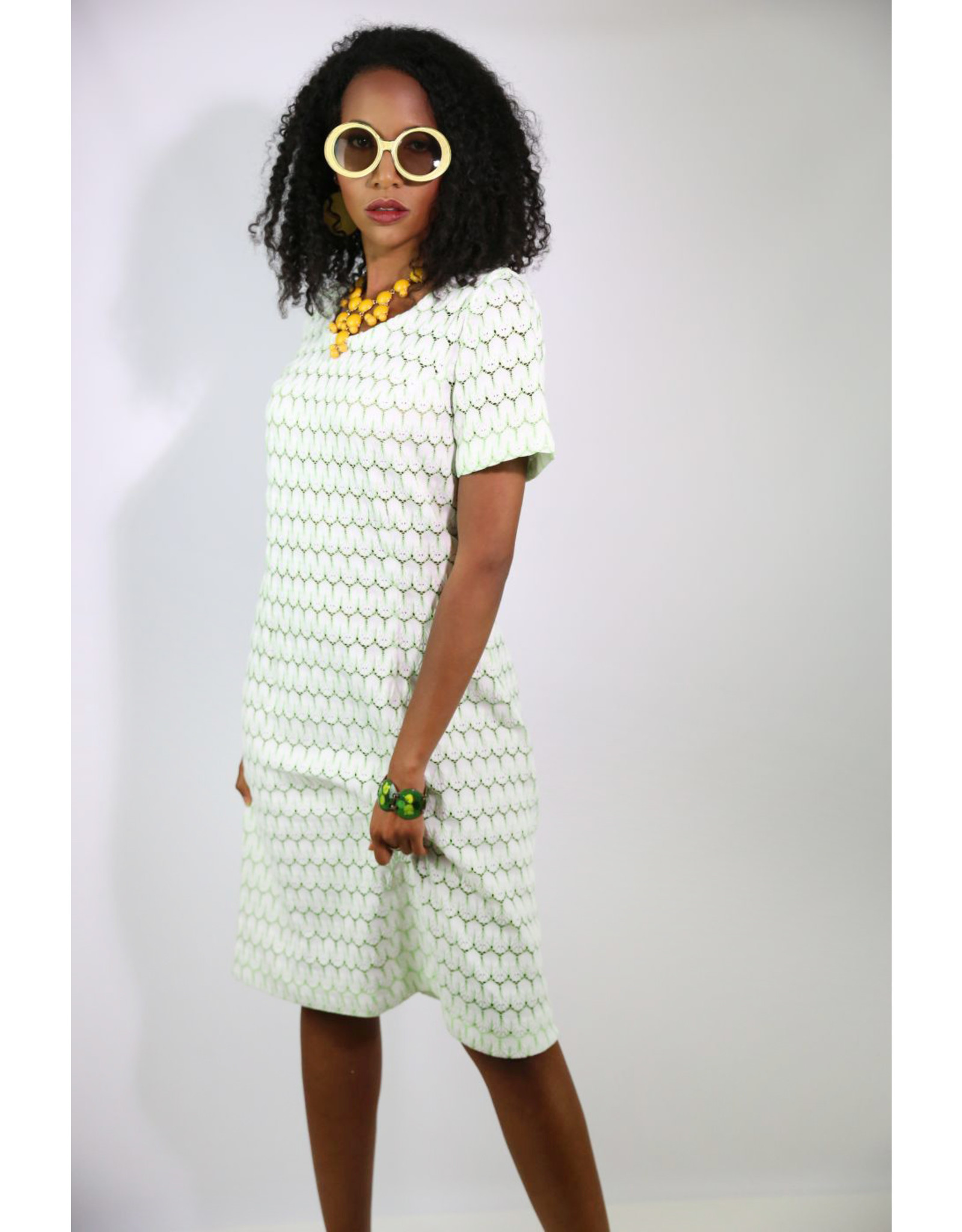 1960's White & Green Open Knit Dress
