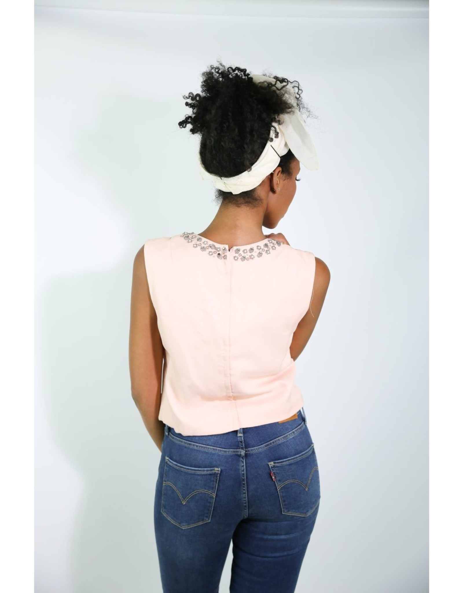 1960's Pink Hand-Beaded Sleeveless Top