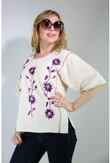 1960's Ivory & Purple Flower Top