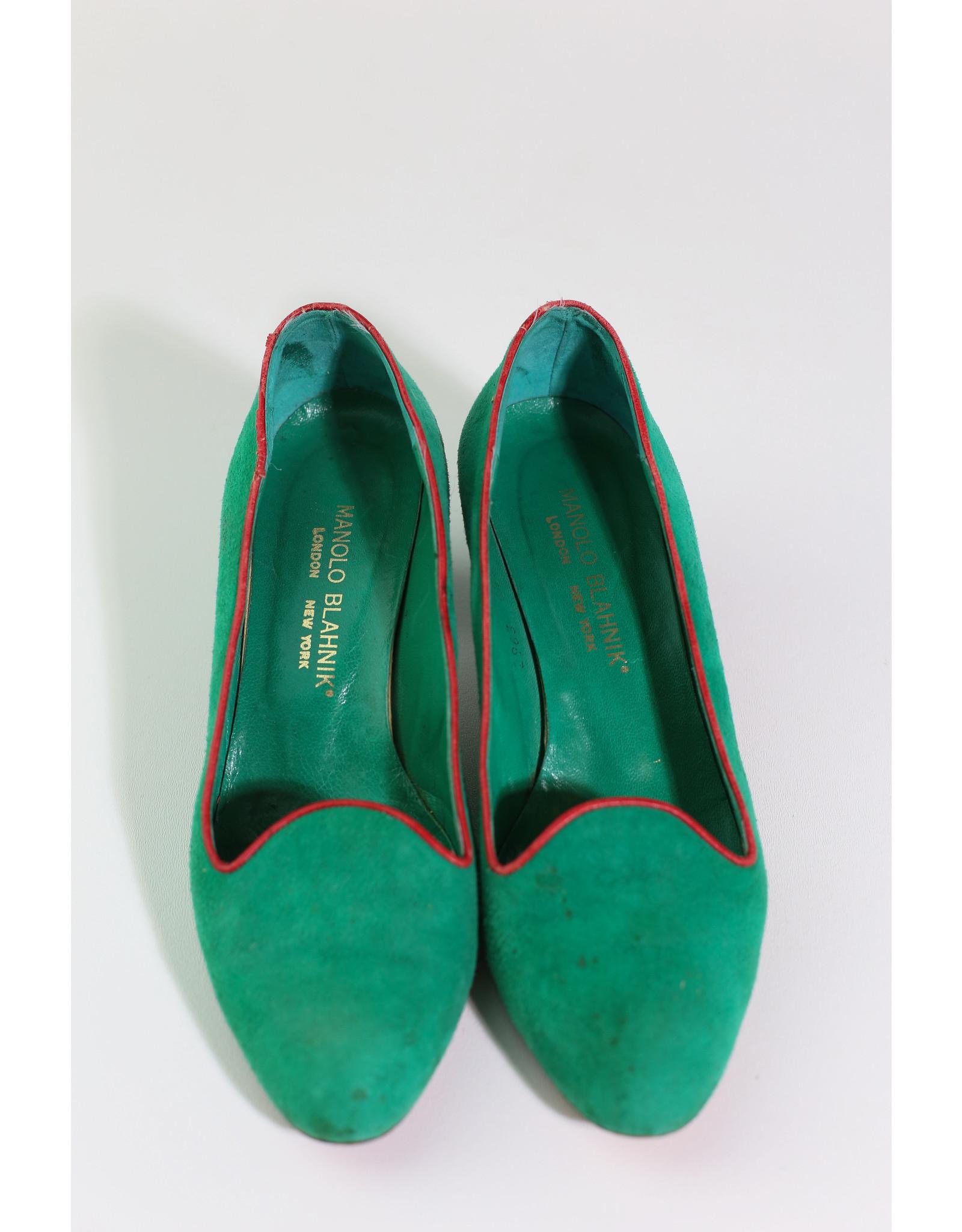 1960's Emerald Manolo Blahnik pumps 6.5
