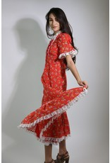1970's Red Floral Prairie Dress