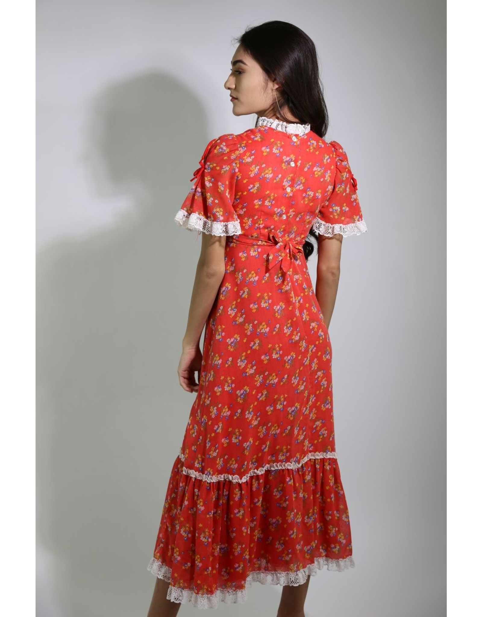 1970's Red Floral Prairie Dress