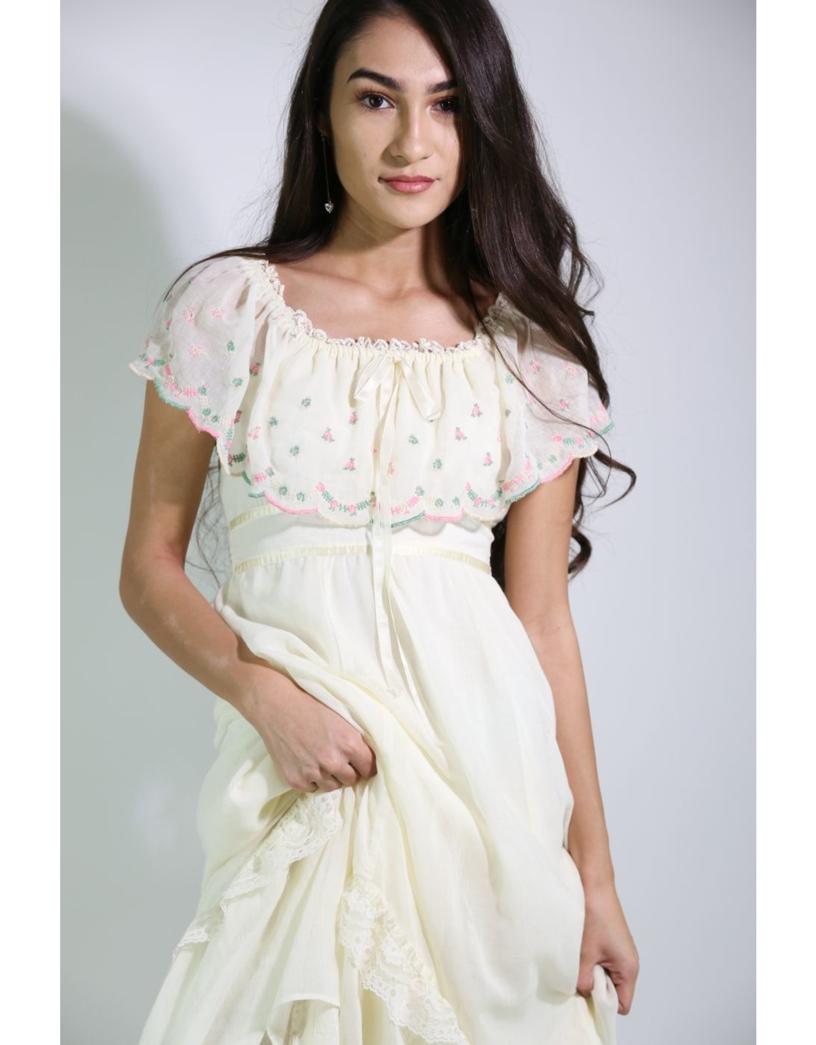 1970's Ivory Off-the-Shoulder Prairie Dress
