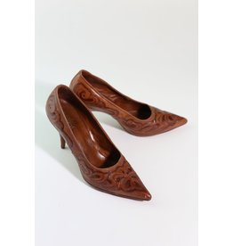 1980's Saddle Brown Western Style Heels  7.5