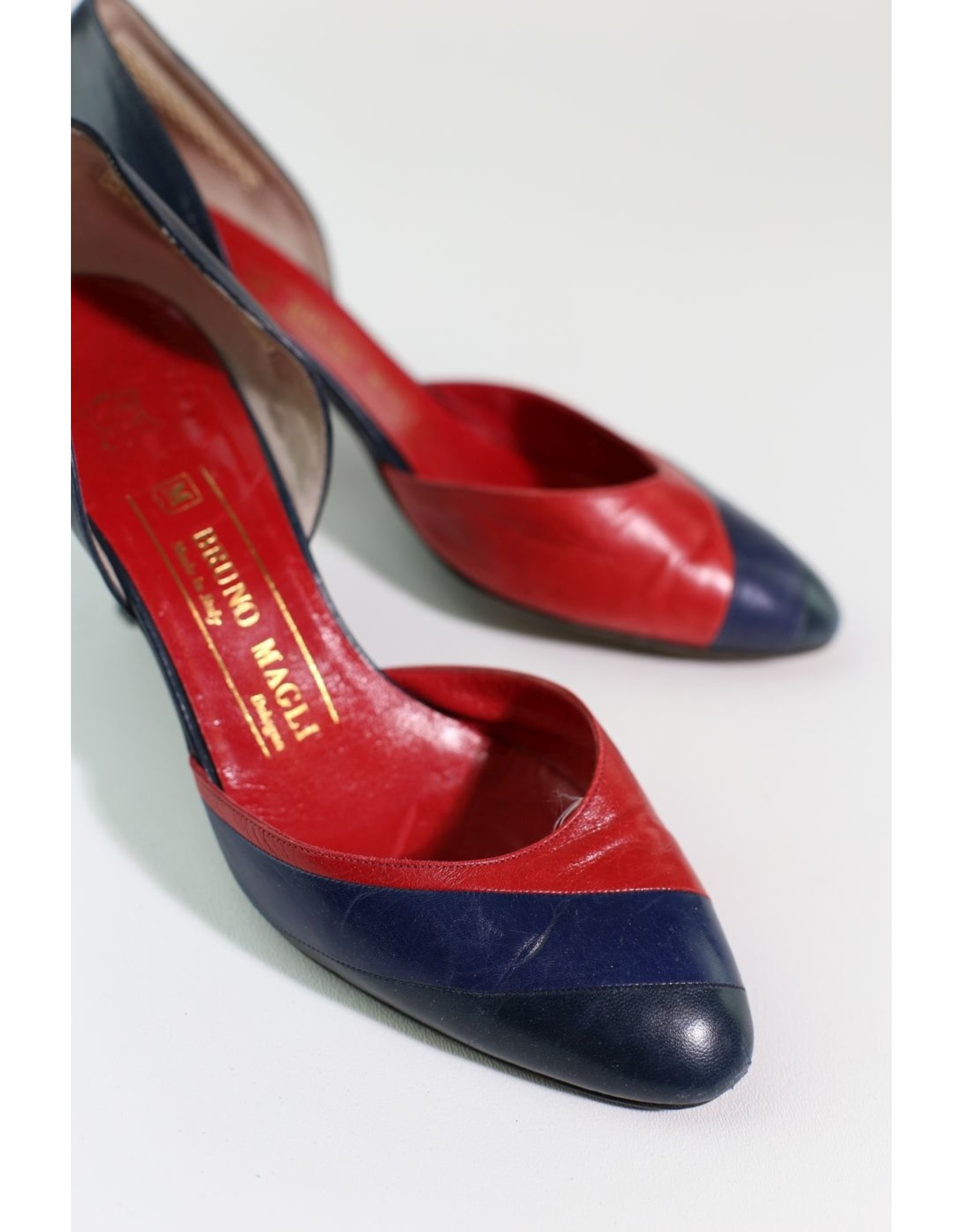 1980's Navy and Red Bruno Magli Heels