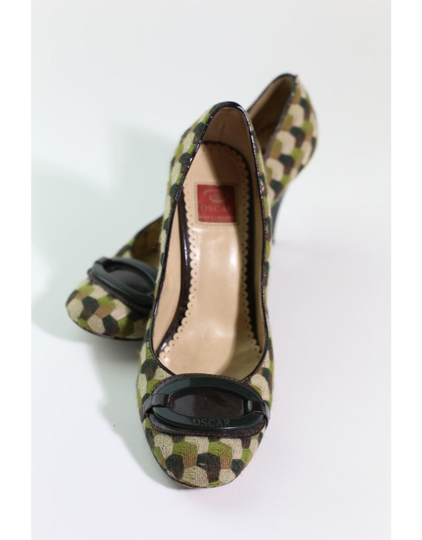 1970's Textile Fabric Oscar De La Renta Colonial Heels
