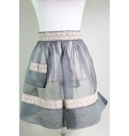 1950's Grey Apron w/ Ivory Trim