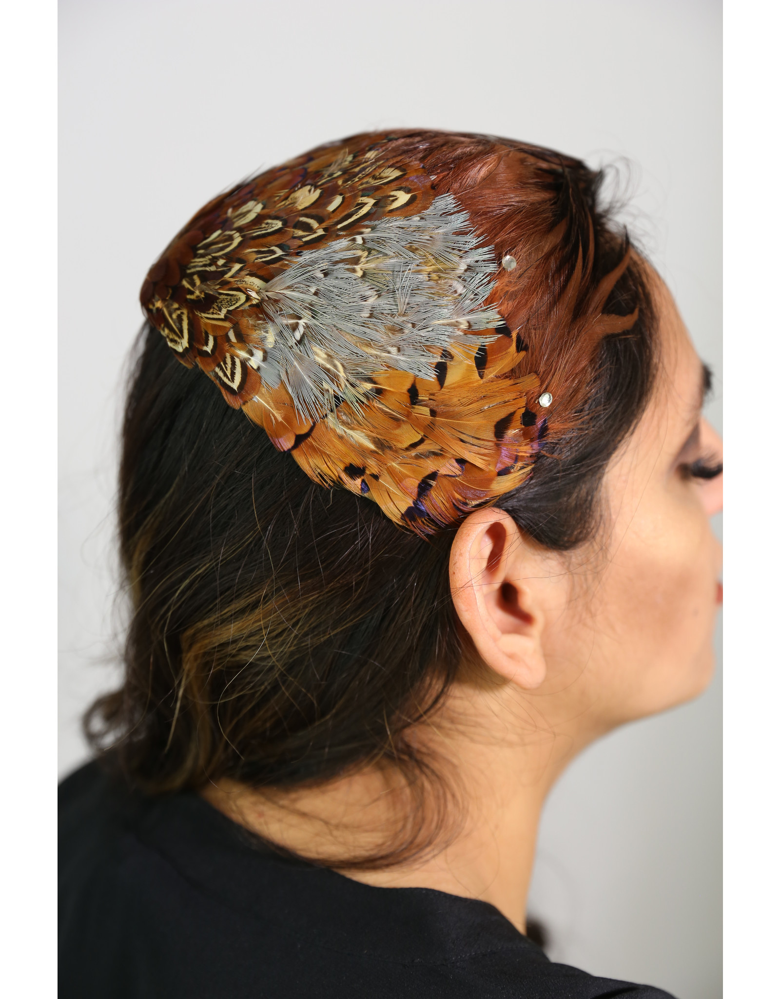 1950's Brown feathered Cocktail hat