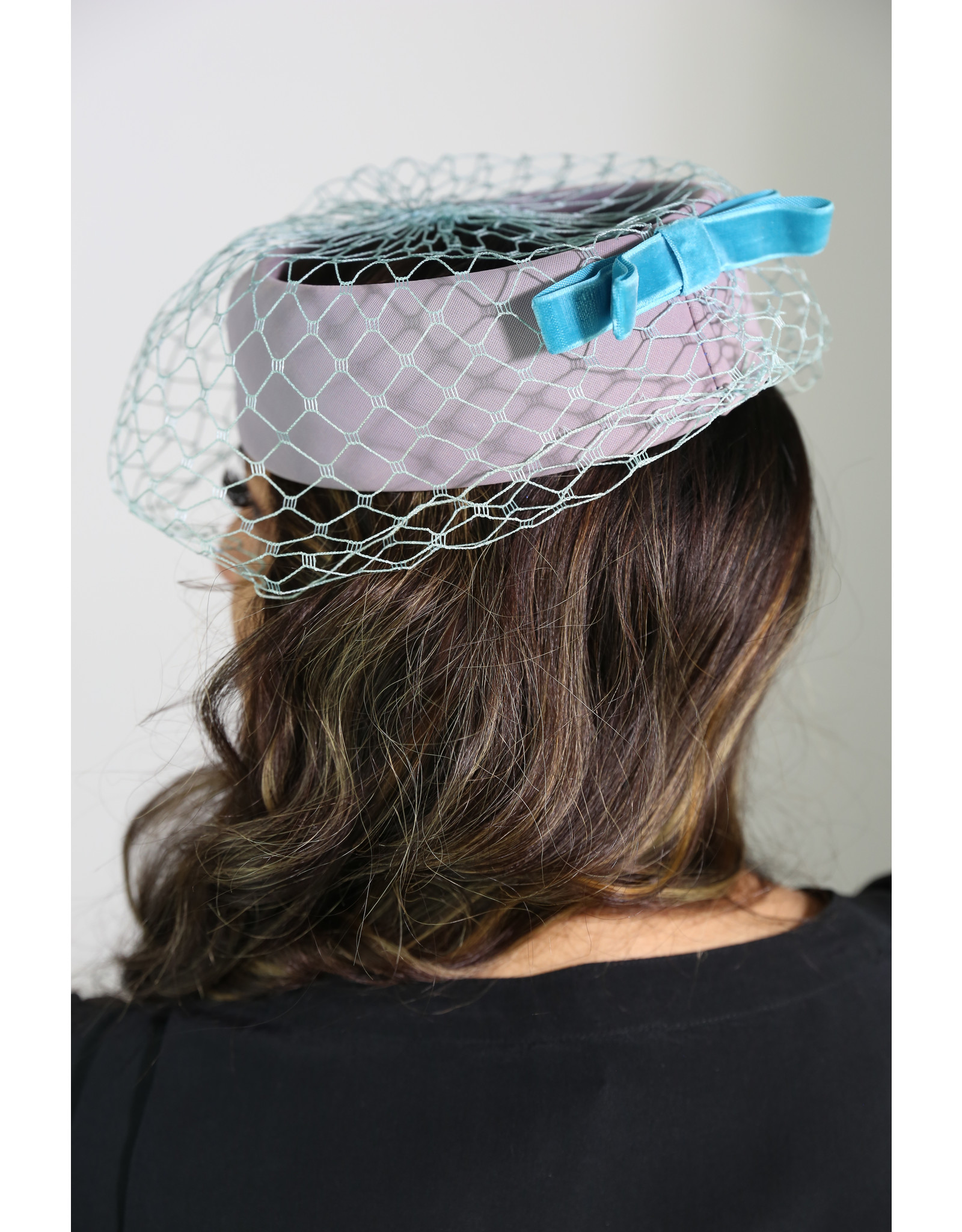 1950's Lavender & Teal Pill Box Hat