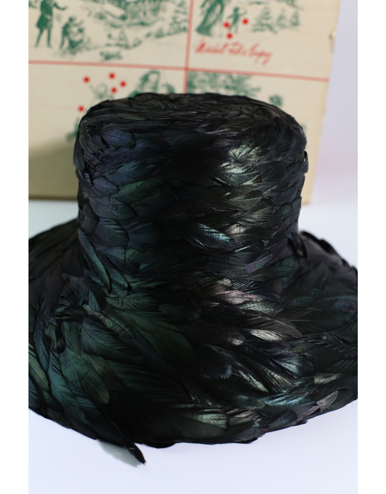 1960's  Marshall Fields & Co Fleur de Lis Raven Feather Hat