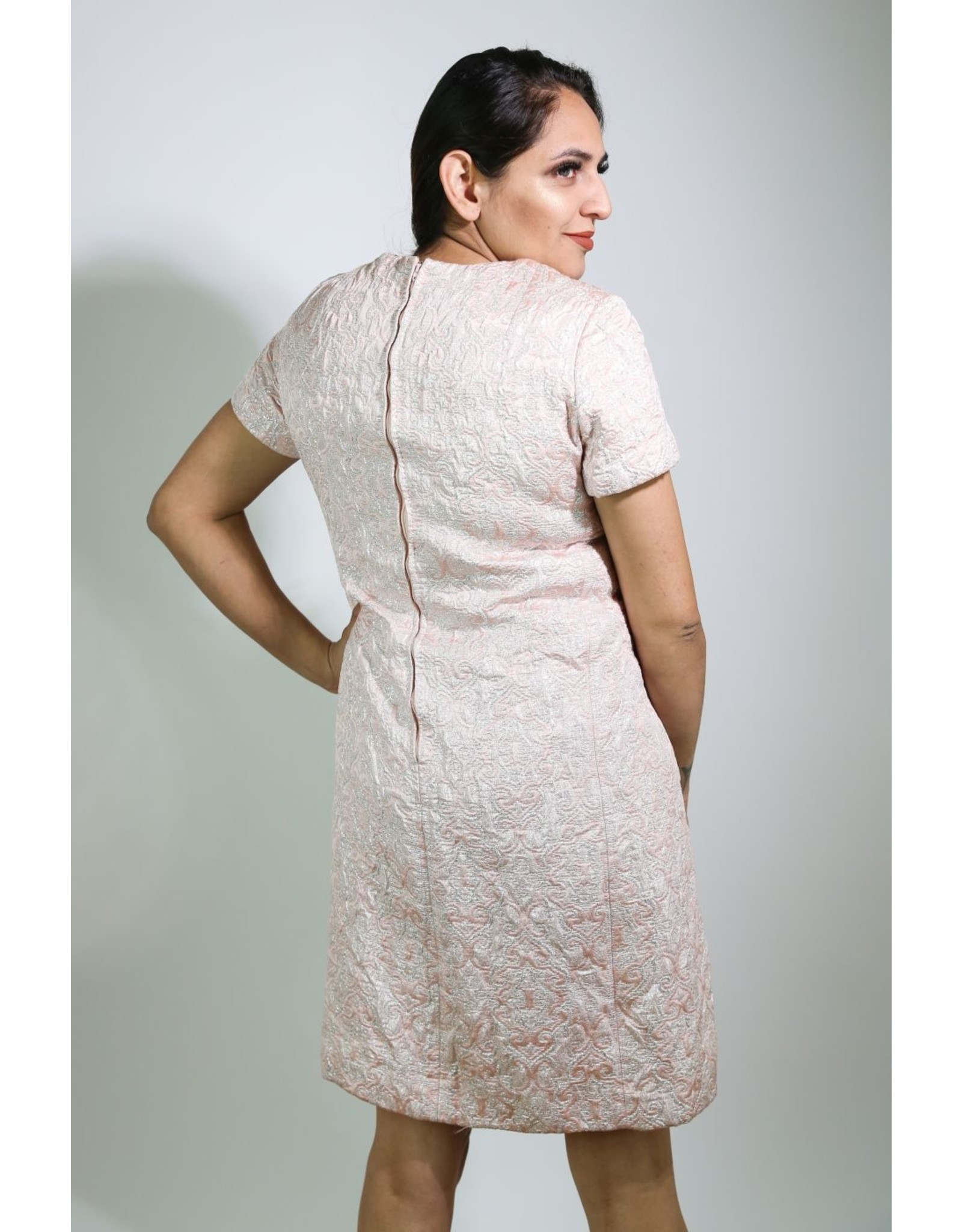 1960's Plus Size Pink & Silver Party Dress