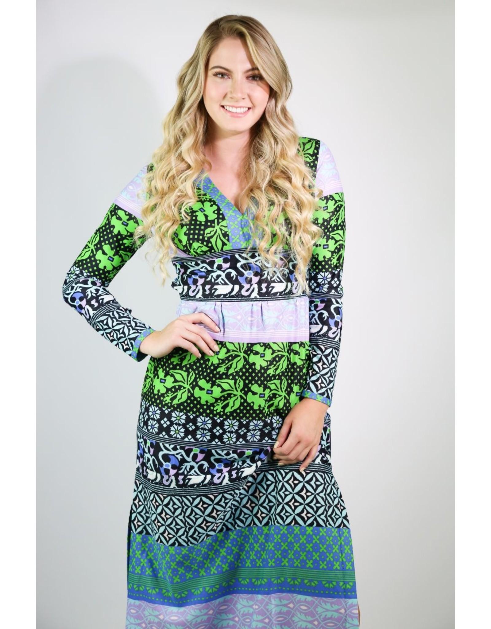 1970's Purple & Green Maxi Dress