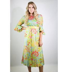1970's Blue & Pink Maxi Dress