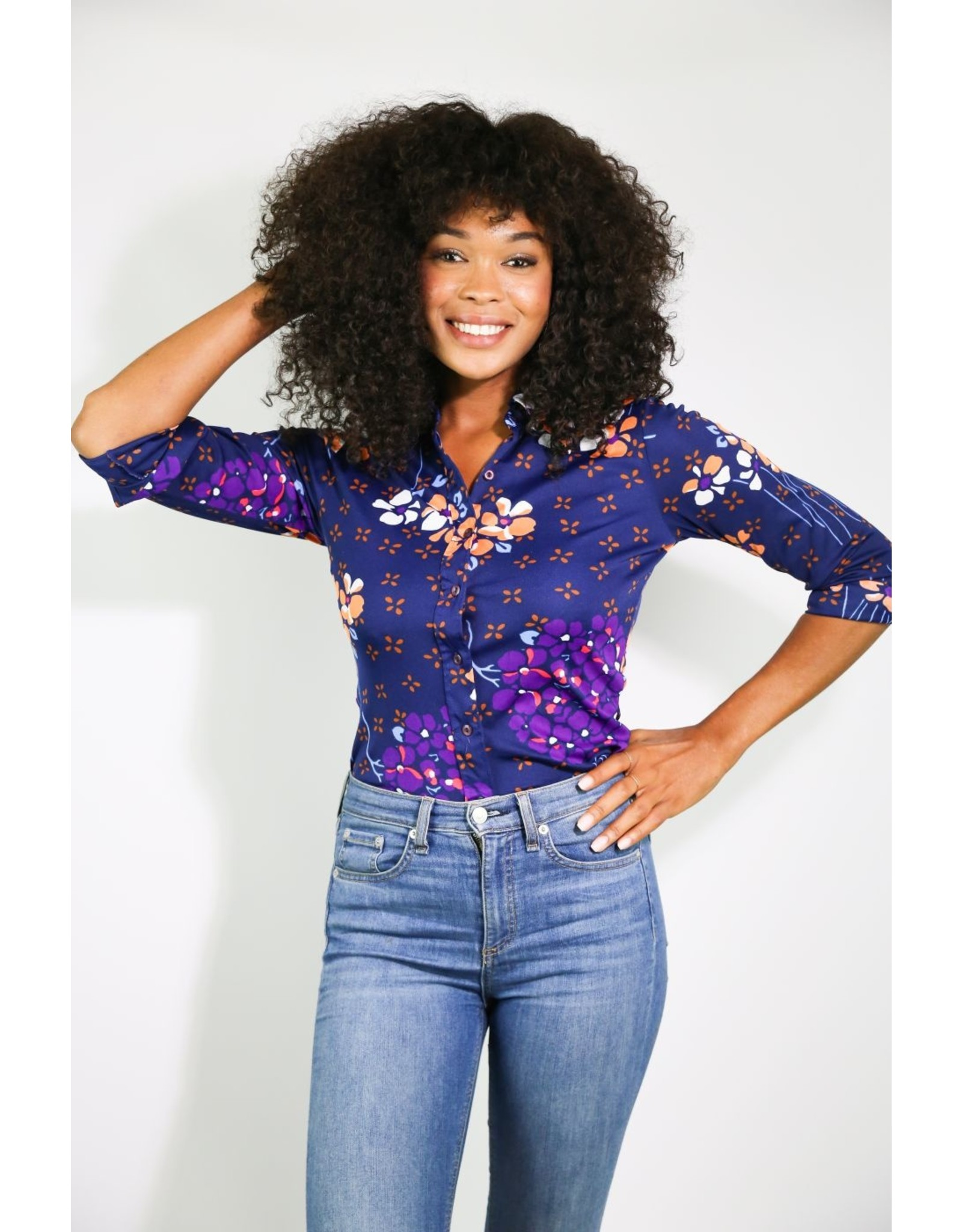 1970's Long Sleeved Navy Blue Top With Flowers