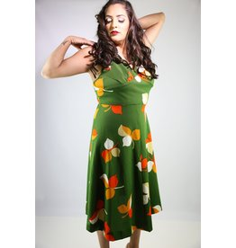 1970's Plus Size Green & Orange Maxi Dress