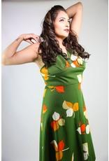 1970's Plus Size Green & Orange Maxi Dress