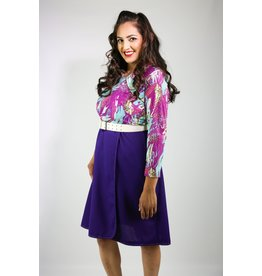 1970's Plus Size Purple & Blue Midi Dress