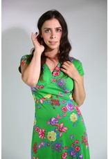 1970's Green Floral Maxi Dress