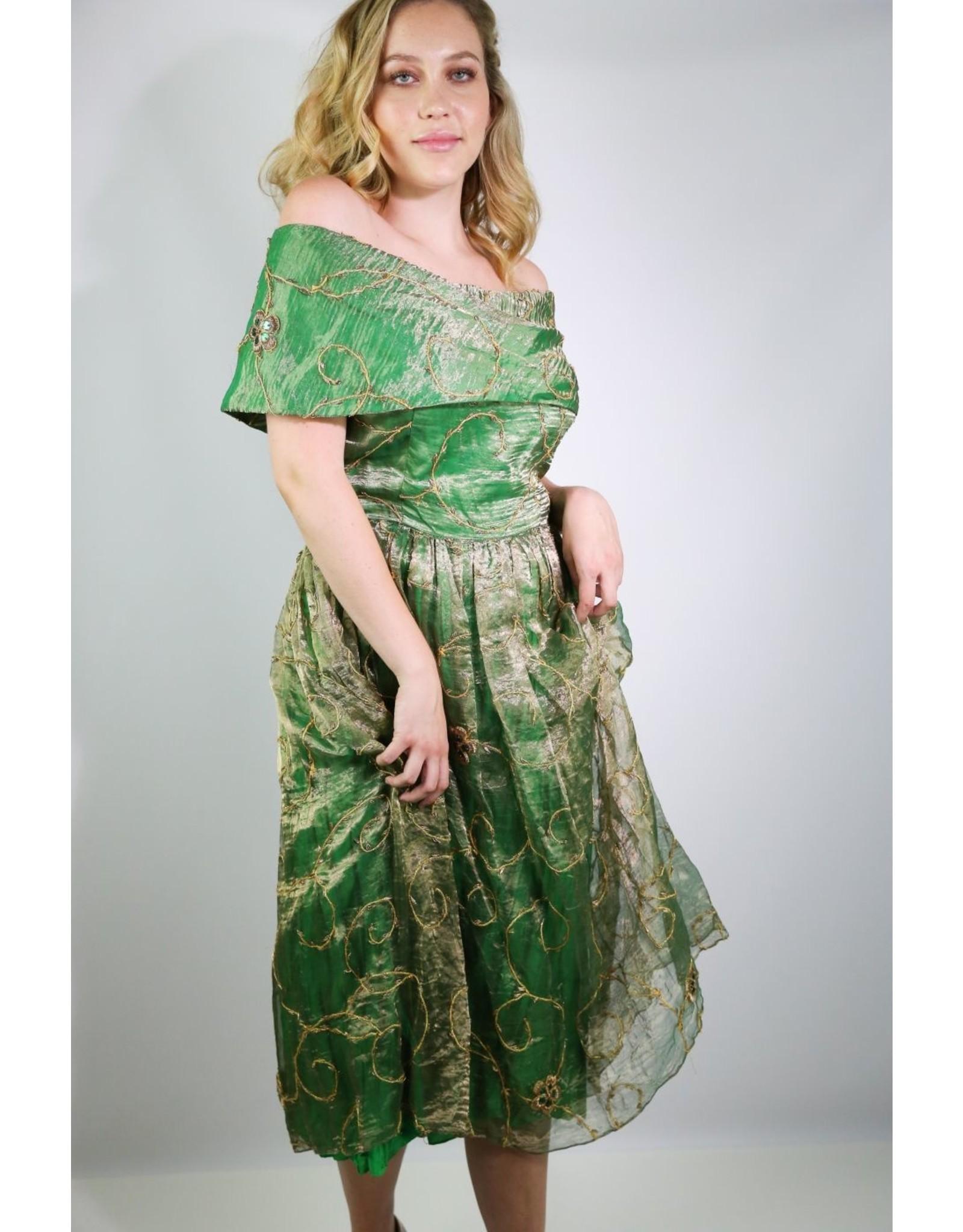 1970's Renaissance Revival Green & Gold Gown