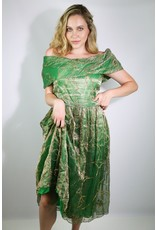 1970's Renaissance Revival Green & Gold Gown