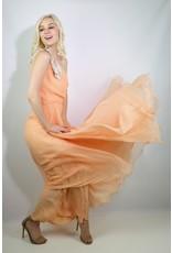 1970's Lillie Rubin Peach Chiffon Cocktail Dress