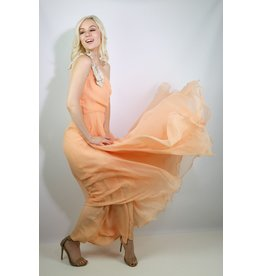 1970's Lillie Rubin Peach Chiffon Cocktail Dress