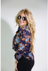 1970's Long Sleeved Blue Rose Top