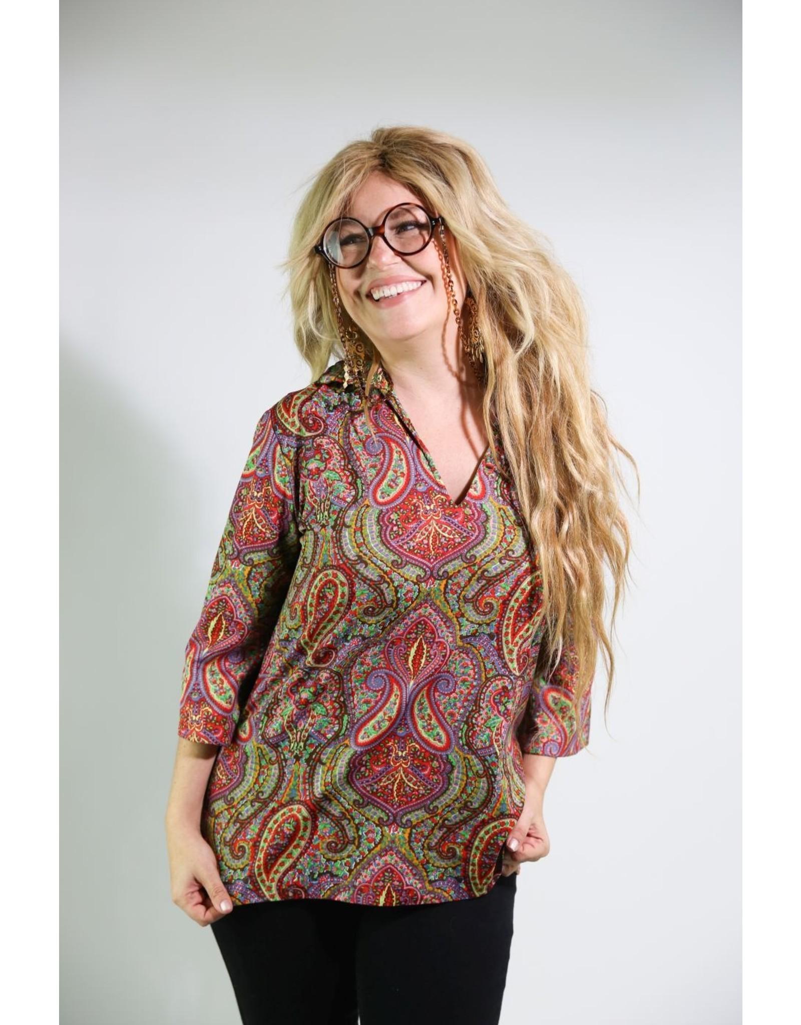 1970's Long Sleeved Rainbow Paisley Shirt