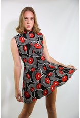 1970's Black, White & Red Skater Dress