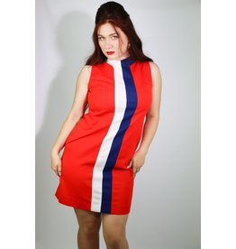 1970's Plus Size Red, White & Blue Shift Dress