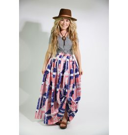 1970's Red, White & Blue Maxi Skirt
