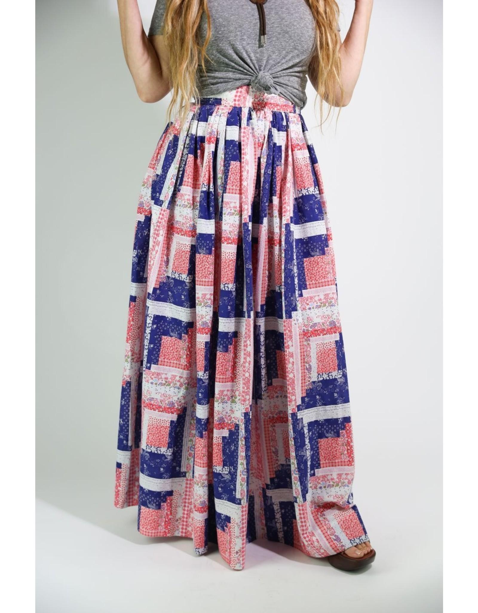 1970's Red, White & Blue Maxi Skirt