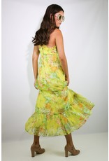 1970's Yellow Floral Halter Maxi Dress